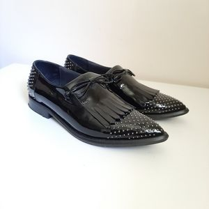 Napoleoni Black Patent Leather Studded Oxford